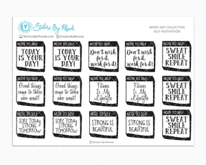 Self Motivation  - Healthy Lifestyle Planner Stickers - Word Art Collection