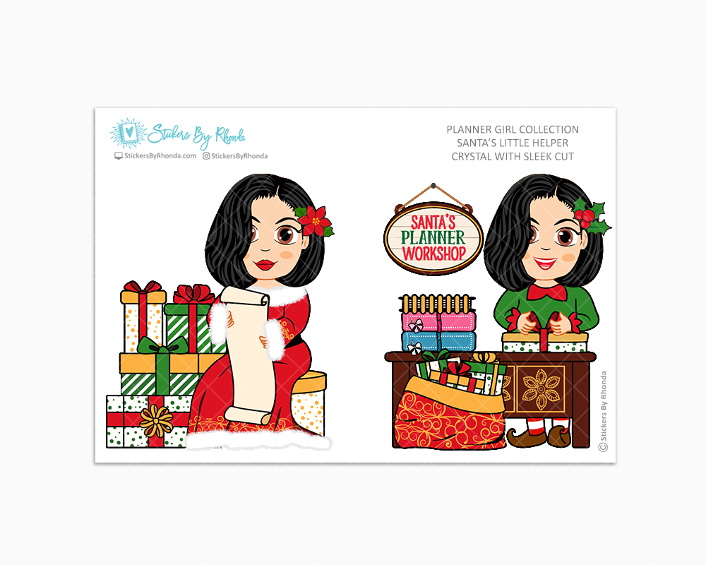Crystal With Sleek Cut - Santa's Little Helper - Planner Girl Collection - Limited Edition - Christmas Stickers