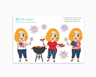 Emma With Sleek Cut - Red, White & Blue Glossy Stickers - Holiday Stickers - Planner Girl Collection - Planner Stickers