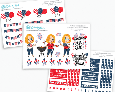 Emma With Sleek Cut - Red, White & Blue Matte Planner Stickers - Planner Girl Collection - Plan Outside The Box Sticker Pack