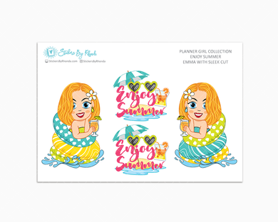 Emma With Sleek Cut - Enjoy Summer Glossy Stickers - Limited Edition - Planner Girl Collection - Planner Stickers