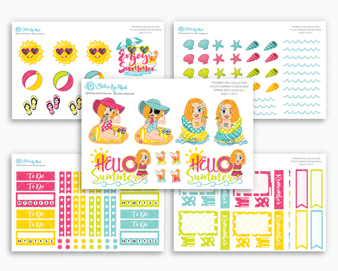 Emma With Sleek Cut - Hello Summer Matte Planner Stickers - Planner Girl Collection