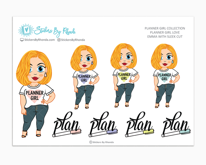 Emma With Sleek Cut - Planner Girl Love - Limited Edition - Planner Girl Stickers