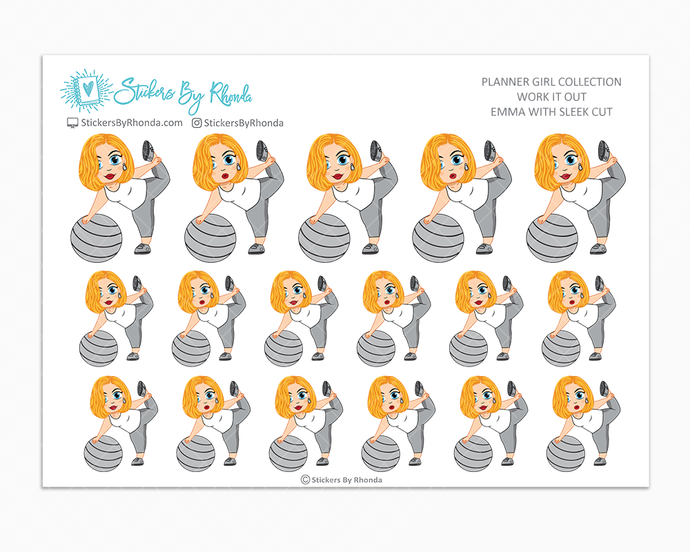 Emma With Sleek Cut - Work It Out - Fitness Planner Stickers - Exercise Planner Stickers