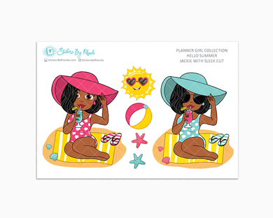Jackie With Sleek Cut - Hello Summer Glossy Stickers - Limited Edition - Planner Girl Collection - Planner Stickers