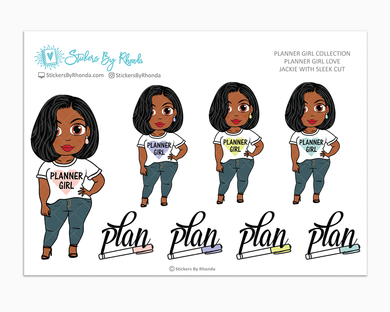 Jackie With Sleek Cut - Planner Girl Love - Limited Edition - Planner Girl Stickers