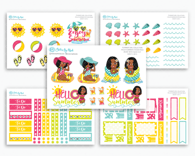 Jackie With Sleek Cut - Hello Summer Matte Planner Stickers - Planner Girl Collection