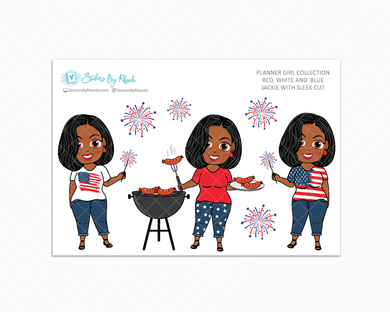 Jackie With Sleek Cut - Red, White & Blue Glossy Stickers - Holiday Stickers - Planner Girl Collection - Planner Stickers