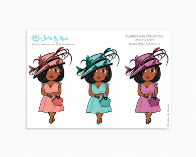 Jackie With Sleek Cut - Spring Fancy - Limited Edition - Planner Girl Collection - Planner Stickers