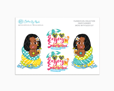 Jackie With Sleek Cut - Enjoy Summer Glossy Stickers - Limited Edition - Planner Girl Collection - Planner Stickers