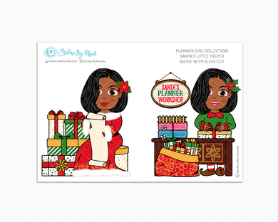 Jackie With Sleek Cut - Santa's Little Helper - Planner Girl Collection - Limited Edition - Christmas Stickers