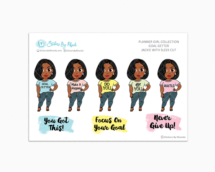 Jackie With Sleek Cut - Goal Getter - Limited Edition - Planner Girl Stickers