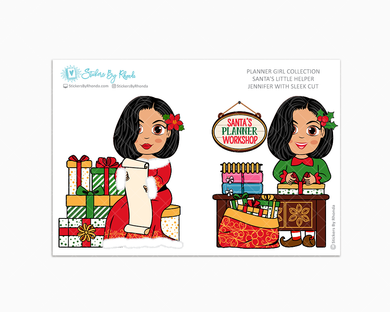 Jennifer With Sleek Cut - Santa's Little Helper - Planner Girl Collection - Limited Edition - Christmas Stickers