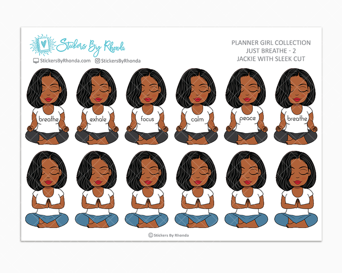 Jennifer With Sleek Cut - Just Breathe 2 - Planner Stickers