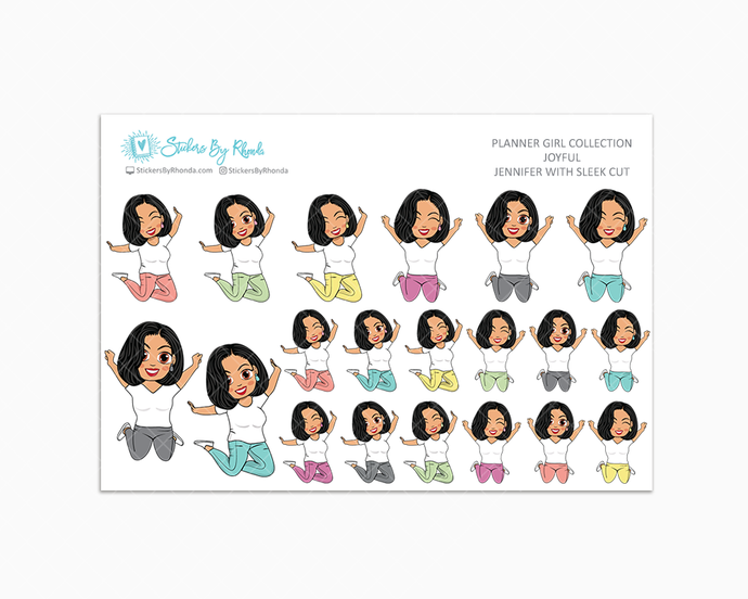 Jennifer With Sleek Cut - Joyful Planner Stickers