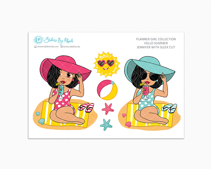 Jennifer With Sleek Cut - Hello Summer Glossy Stickers - Limited Edition - Planner Girl Collection - Planner Stickers