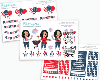 Jennifer With Sleek Cut - Red, White & Blue Matte Planner Stickers - Planner Girl Collection - Plan Outside The Box Sticker Pack