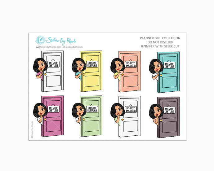 Jennifer With Sleek Cut - Do Not Disturb Planner Stickers