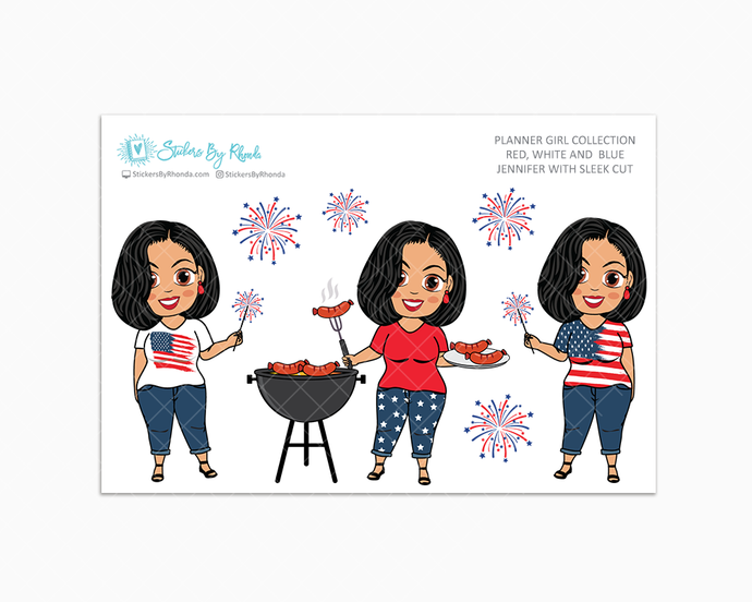 Jennifer With Sleek Cut - Red, White & Blue Glossy Stickers - Holiday Stickers - Planner Girl Collection - Planner Stickers