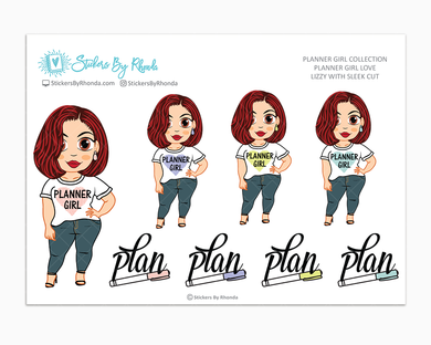 Lizzy With Sleek Cut - Planner Girl Love - Limited Edition - Planner Girl Stickers