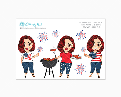 Lizzy With Sleek Cut - Red, White & Blue Glossy Stickers - Holiday Stickers - Planner Girl Collection - Planner Stickers