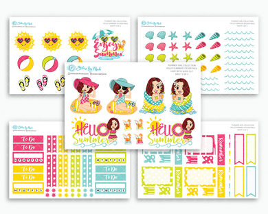 Lizzy With Sleek Cut - Hello Summer Matte Planner Stickers - Planner Girl Collection