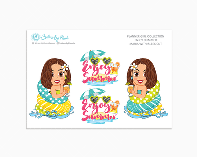 Maria With Sleek Cut - Enjoy Summer Glossy Stickers - Limited Edition - Planner Girl Collection - Planner Stickers