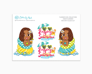 Mia With Sleek Cut - Enjoy Summer Glossy Stickers - Limited Edition - Planner Girl Collection - Planner Stickers