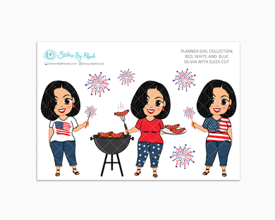 Olivia With Sleek Cut - Red, White & Blue Glossy Stickers - Holiday Stickers - Planner Girl Collection - Planner Stickers