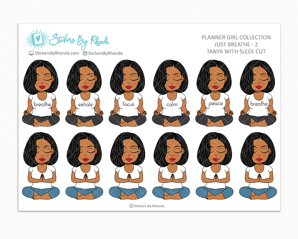 Tanya With Sleek Cut - Just Breathe 2 - Planner Stickers