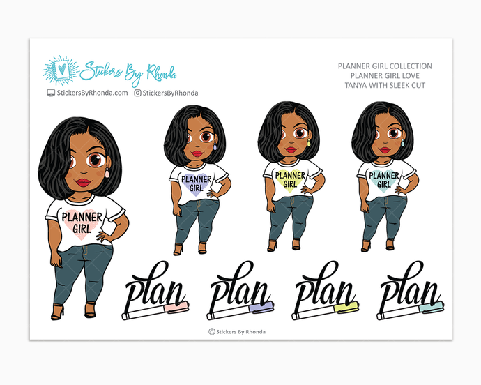 Tanya With Sleek Cut - Planner Girl Love - Limited Edition - Planner Girl Stickers