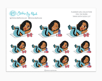 Tanya With Sleek Cut - Feel The Burn - Fitness Planner Stickers - Exercise Planner Stickers