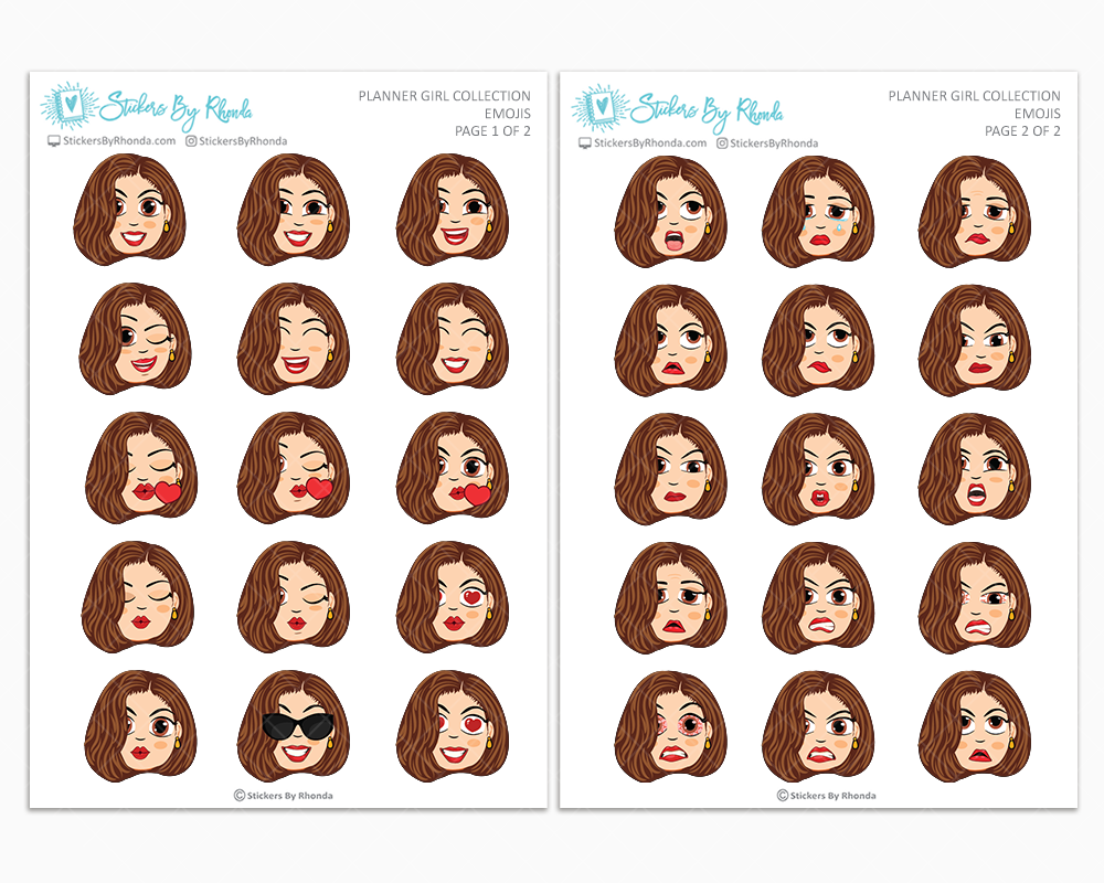 Amanda With Sleek Cut - Planner Girl Emojis - Emotion Stickers - Planner Girl Collection