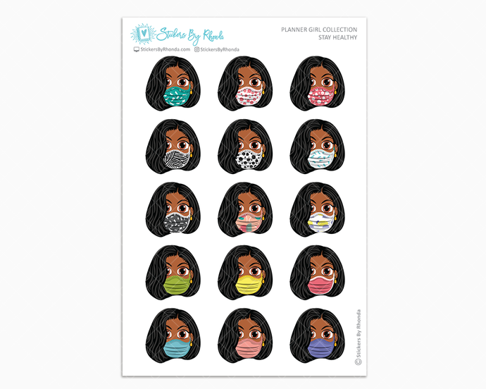 Jackie with Sleek Cut -  Stay Healthy - Planner Girl Stickers