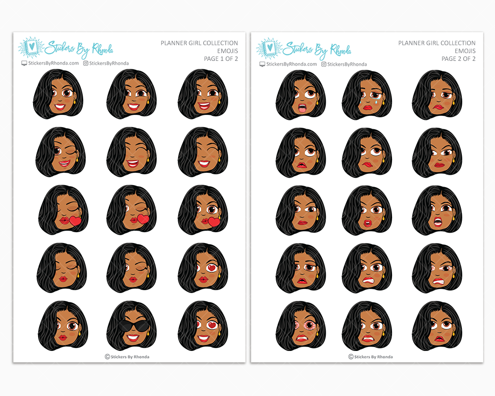 Tanya With Sleek Cut - Planner Girl Emojis - Emotion Stickers - Planner Girl Collection