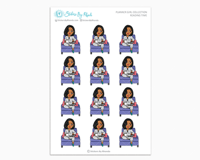 Tanya With Sleek Cut - Reading Time - Planner Girl Collection - Planner Stickers