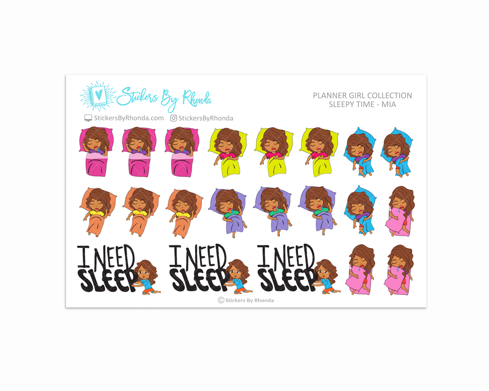 Sleepy Time Planner Stickers - Mia