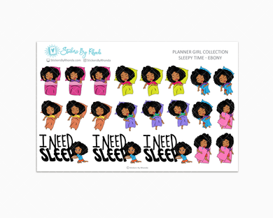 Sleepy Time Planner Stickers - Ebony