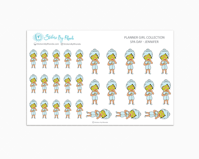 Spa Day Planner Stickers - Jennifer
