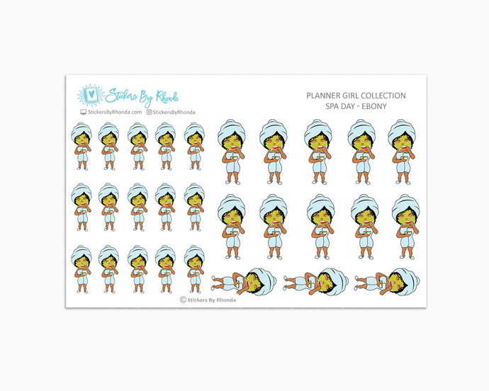Spa Day Planner Stickers - Ebony