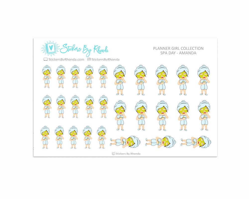 Spa Day Planner Stickers - Amanda