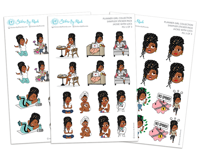 Jackie With Locs - Sampler Sticker Pack - Planner Girl Collection