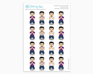 Jackson With Straight Hair And Goatee - The God In Me - Planner Guy Stickers