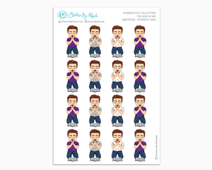 Matthew With Straight Hair And Goatee - The God In Me - Planner Guy Stickers