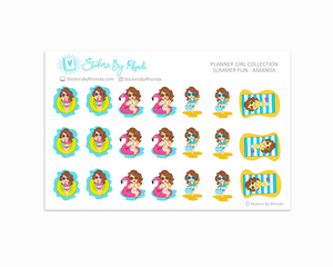 Summer Fun Planner Stickers - Amanda