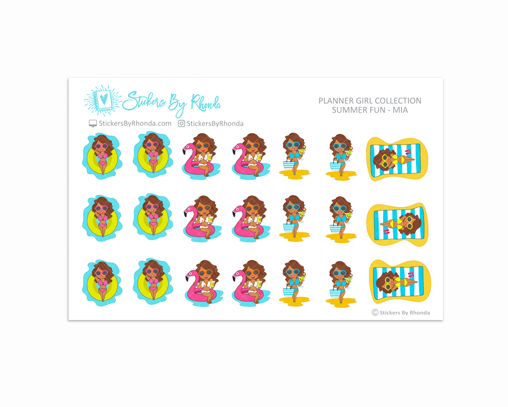 Summer Fun Planner Stickers - Mia