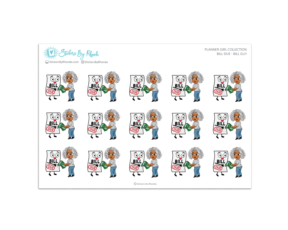 Sylvia - Bill Due - Bill Guy Planner Stickers