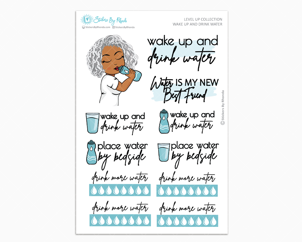 Sylvia - Wake Up and Drink Water - Planner Girl - Level Up Habit Planner Stickers