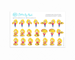 Taco/Nacho Night Planner Stickers - Emma