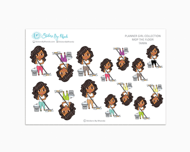 Tanya - Mop The Floor - Cleaning Stickers - Planner Stickers